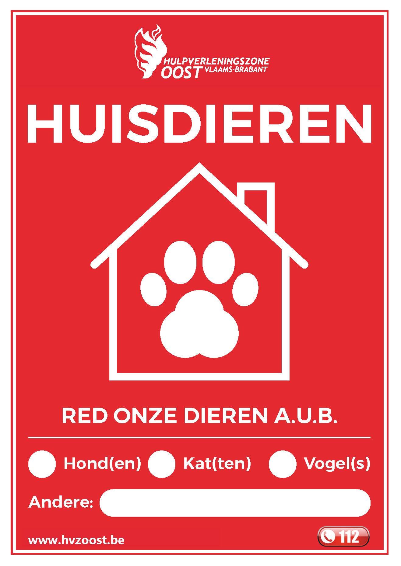 Huisdiersticker Hulpverleningszone Oost-Brabant