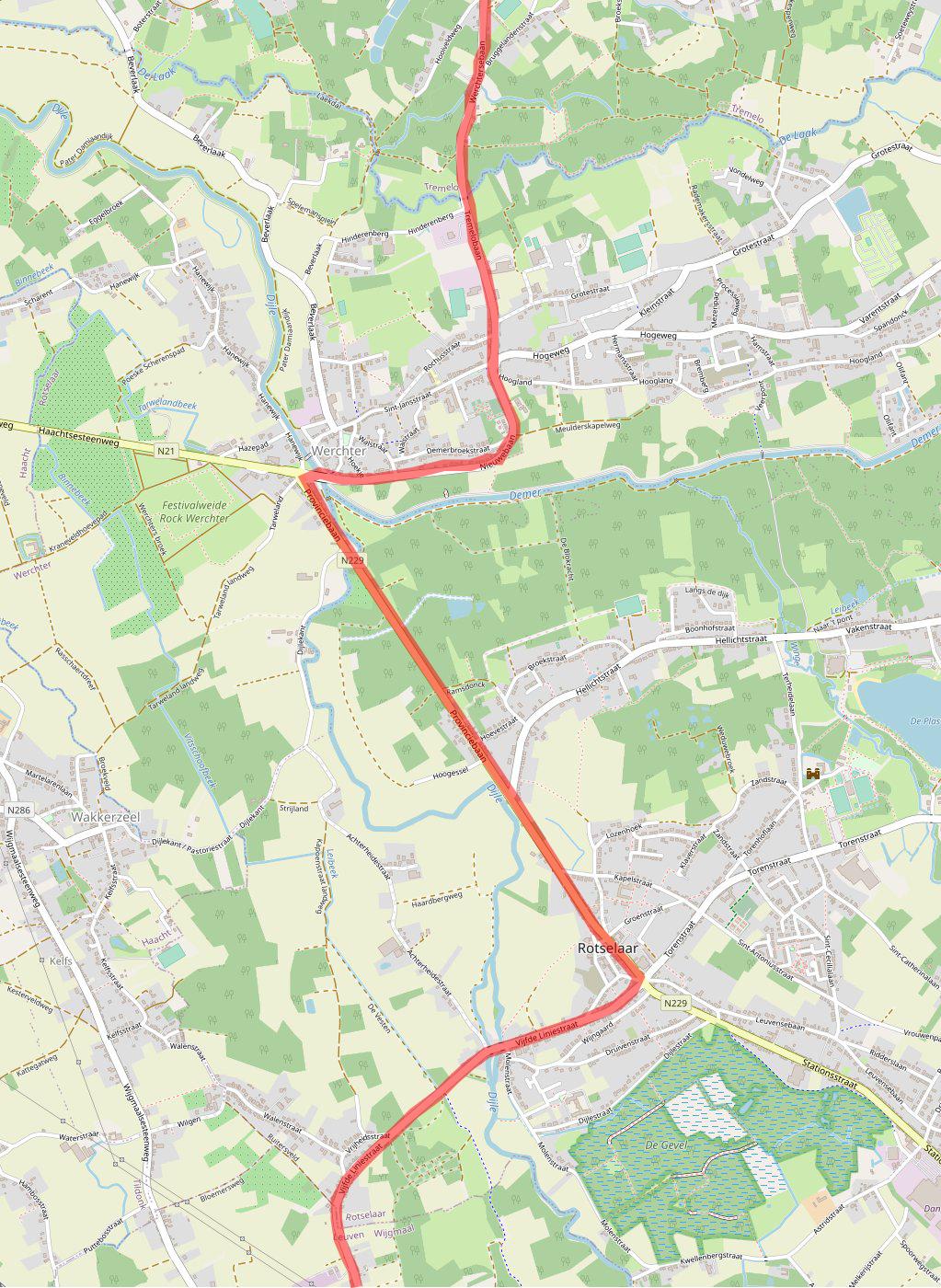 Kaart met het parcours van het WK Wielrennen in de gemeente Rotselaar