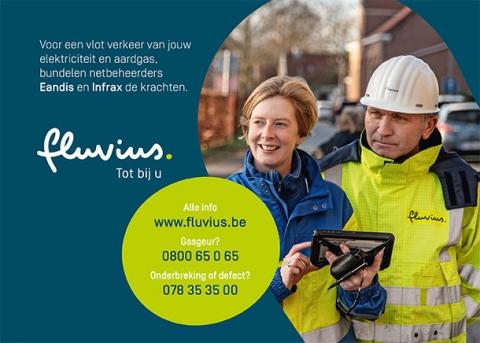 Fluvius: Onderbreking of defect aardgas/elektriciteit bel 078 35 35 00,Gasgeur bel 0800 65 0 65