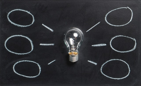 Gloeilamp met ideeënvakjes rond